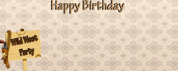 Wild West Happy Birthday Design Small Personalised Banner - 4ft x 2ft