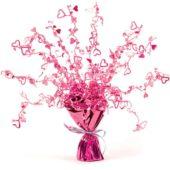 Pink Foil Heart Balloon Weight Centrepiece