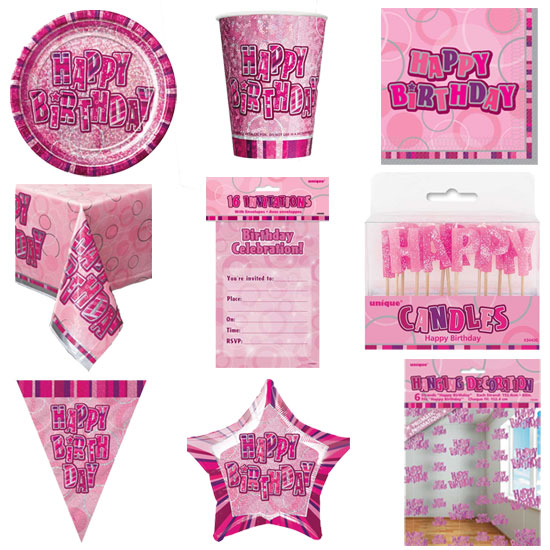 Pink Glitz 8 Person Deluxe Party Pack