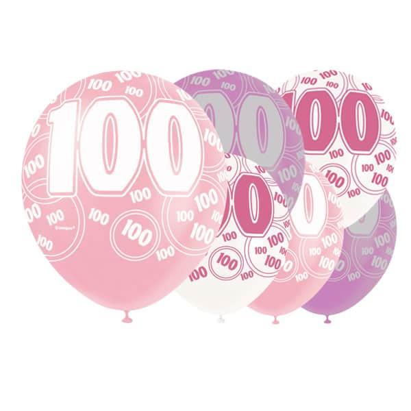 Pink Glitz Age 100 Happy Birthday 12 Inch