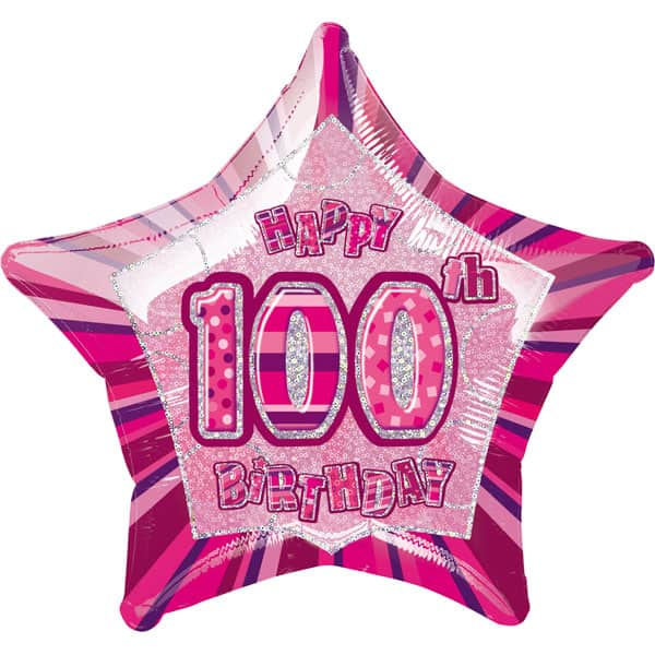 Pink-Glitz-Age-100-Happy-Birthday-20-Inch-Prismatic-Foil-Balloon-product-image
