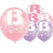 Pink Glitz 13th Birthday Latex Balloons 12 Inches 30cm Pack Of 6