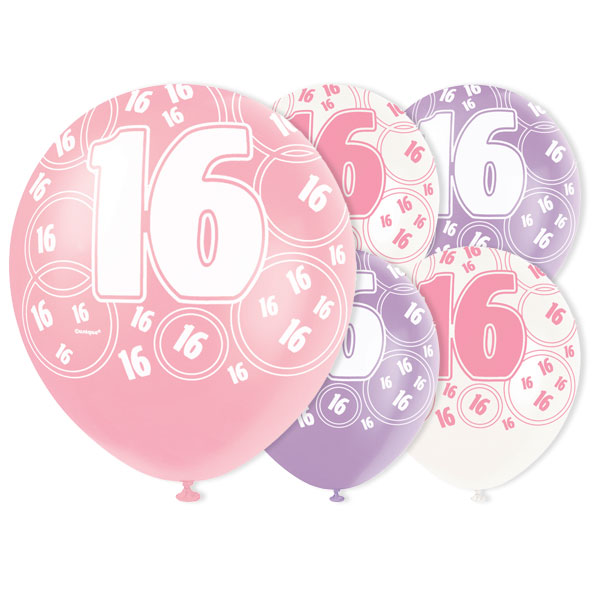 Pink Glitz 16th Birthday Biodegradable Latex Balloons - 12 Inches / 30cm - Pack of 6 - Assorted Colours