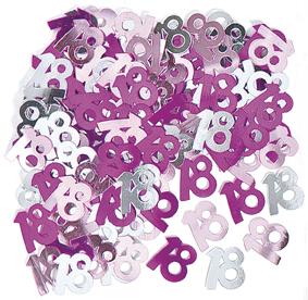 Pink Glitz 18th Birthday Table Confetti - 14 Grams