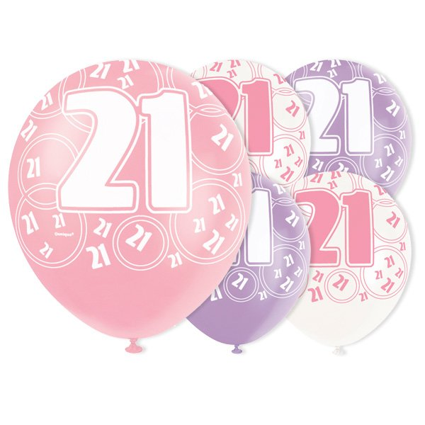 Pink Glitz 21st Birthday Biodegradable Latex Balloons - 12 Inches / 30cm - Pack of 6 - Assorted Colours