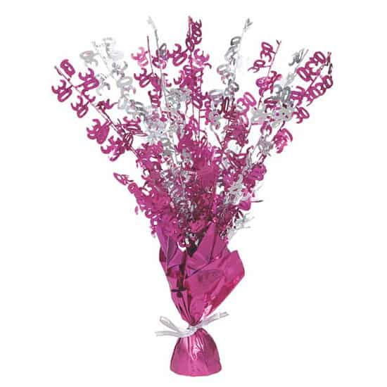 Pink glitz age balloon weight centerpiece partyrama