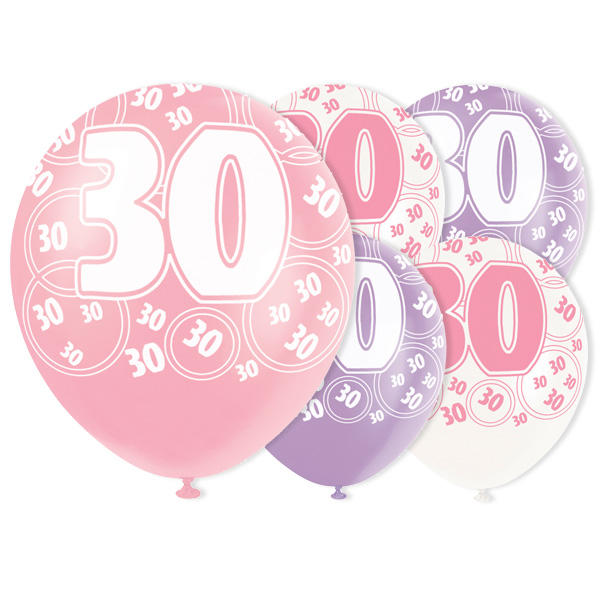 Pink Glitz 30th Birthday Biodegradable Latex Balloons - 12 Inches / 30cm - Pack of 6 - Assorted Colours