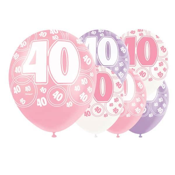 Pink Glitz Age 40 Happy Birthday 12 Inch
