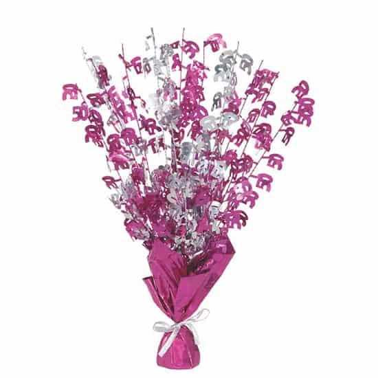 Pink Glitz Age 50 Balloon Weight Centerpiece Image