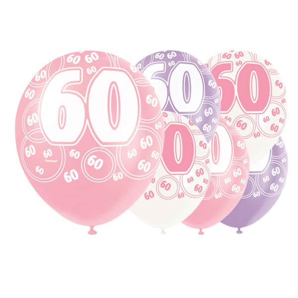 Pink-Glitz-Age-60-Happy-Birthday-12-Inch-Latex-Balloons-Pack-of-6-Assorted-Colours-product-image