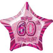 Pink Glitz Age 60 Happy Birthday Prismatic Foil Helium Balloon 51cm / 20Inch