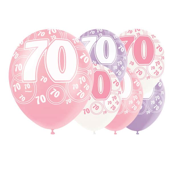 Pink Glitz 70th Birthday Biodegradable Latex Balloons - 12 Inches / 30cm - Pack of 6 - Assorted Colours