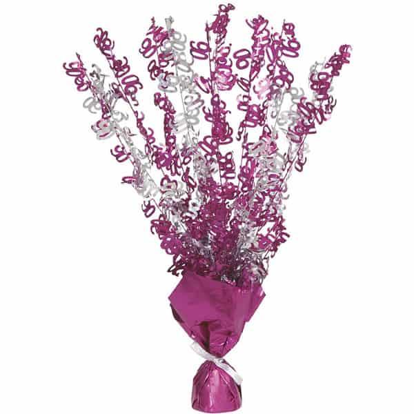 Pink Glitz 90th Birthday Balloon Weight Centrepiece