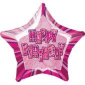 Pink Glitz 'Happy Birthday' Prismatic Star Foil Balloon – 20 Inches / 51cm