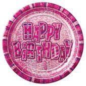 Pink Glitz Prismatic Paper Plate – 9 Inches / 23cm