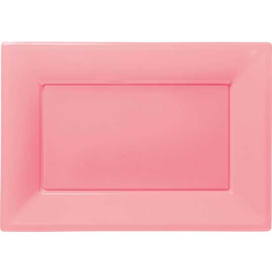Pink Rectangular Plastic Serving Tray - 9 x 13 Inches / 23 x 33cm - Pack of 3