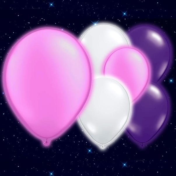 Pink White Purple Colour Illoom Balloons - 9 Inches / 23cm - Pack of 15