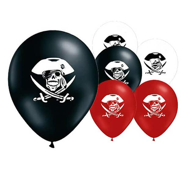 Pirate Party Latex Balloons - 12 Inches / 30cm - Pack of 6