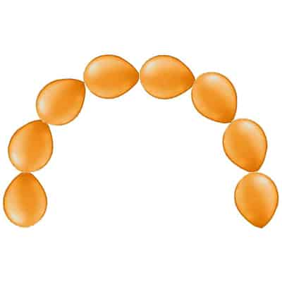 Plain Orange Latex Linking Balloons - 12 Inches / 30cm - Pack of 15