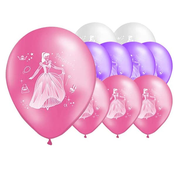 Princess Party Latex Balloons - 12 Inches / 30cm - Pack of 10