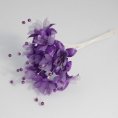 Purple Pearled Baby's Breath Fabric Flowers – 6 Bunches of 12