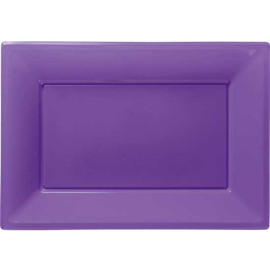 Purple Rectangular Plastic Serving Tray - 9 x 13 Inches / 23 x 33cm - Pack of 3
