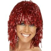 Red Adults Tinsel Wig