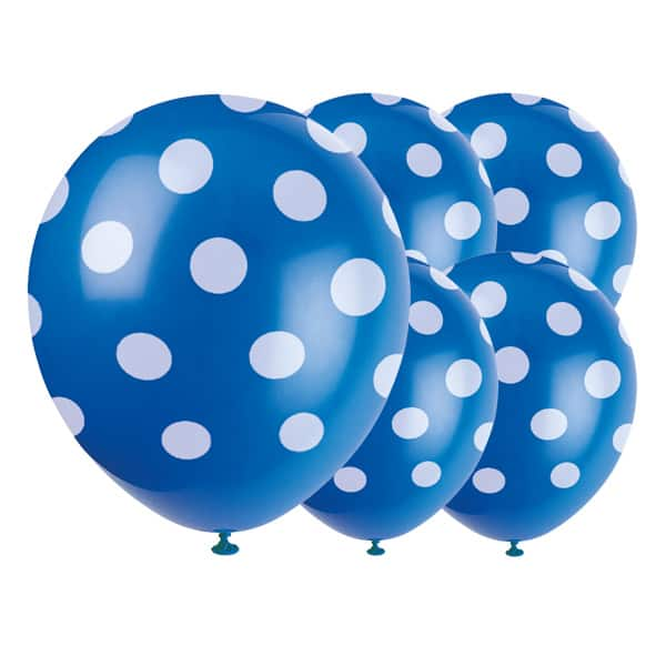 Royal Blue Decorative Dots Biodegradable Latex Balloons - 12 Inches / 30cm - Pack of 6