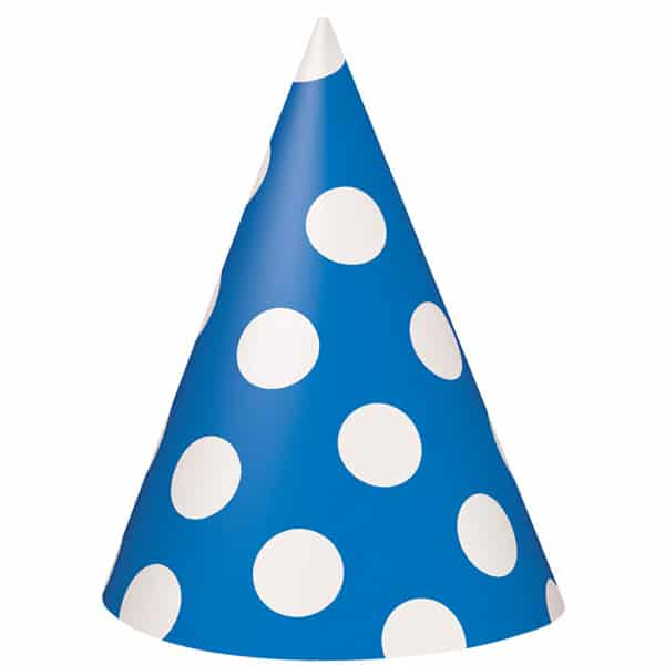 Royal Blue Decorative Dots Cone Party Hat Product Image