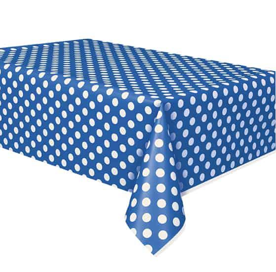 Royal Blue Decorative Dots Plastic Tablecover 274cm x 137cm