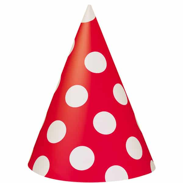Ruby Red Decorative Dots Cone Party Hat