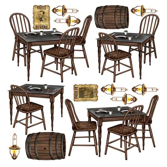 Wild West Saloon Tables Backdrop Scene Setter Add-Ons - Pack of 15