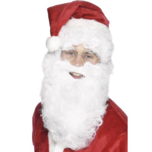 Santa Nylon Beard Adults Christmas Fancy Dress - 11 Inches / 28cm