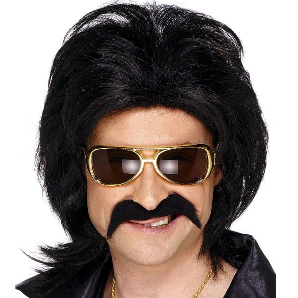 Black 70's Fancy Dress Moustache