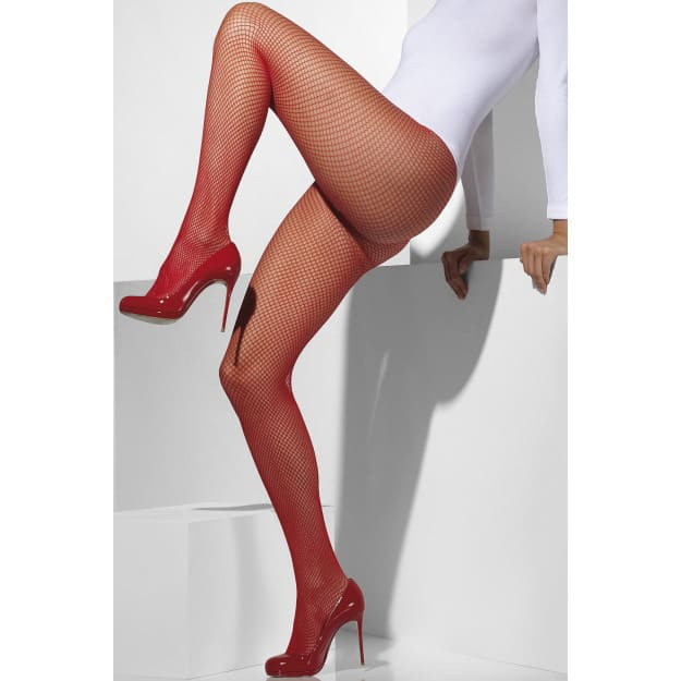 Sheer Desires Red Fishnet Tights