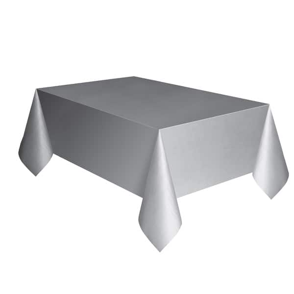 Silver Plastic Tablecover 274cm x 137cm