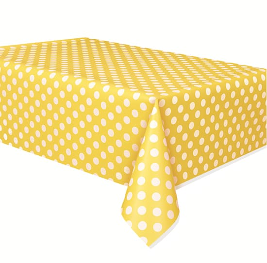 Sunflower Yellow Decorative Dots Plastic Tablecover 274cm x 137cm