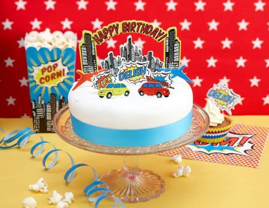 Superhero Pop Art Party Cake Decorations Kit Partyrama.co.uk