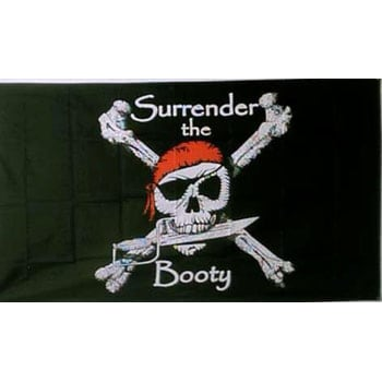 Surrender The Booty Pirate Flag - 5 x 3 Ft