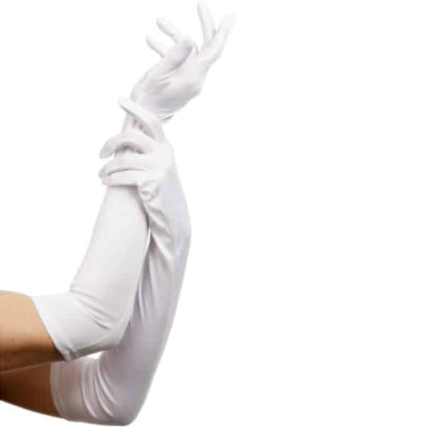 White Elbow Length Fancy Dress Gloves