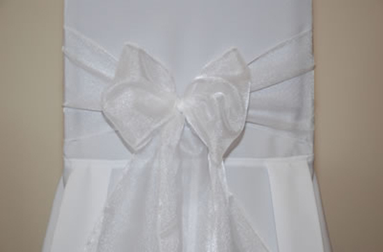 White Organza Wedding Chair Bow Tie - 3m x 22cm