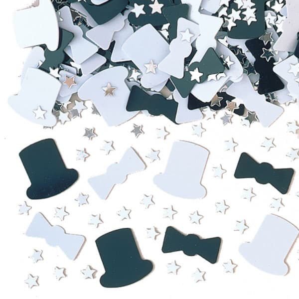 White and Black 'Night on the Town' with Silver Stars Table Confetti - 14 Grams
