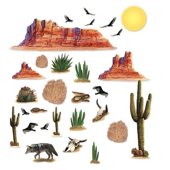 Wild West Desert Backdrop Scene Setter Add-Ons - Pack of 29