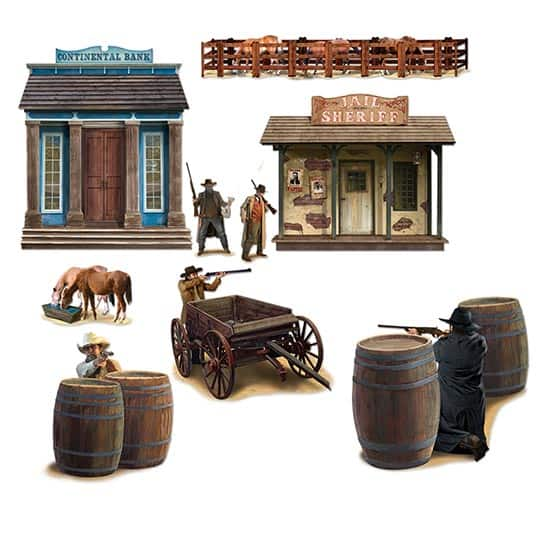 Wild West Shootout Backdrop Scene Setter Add-Ons - Pack of 9