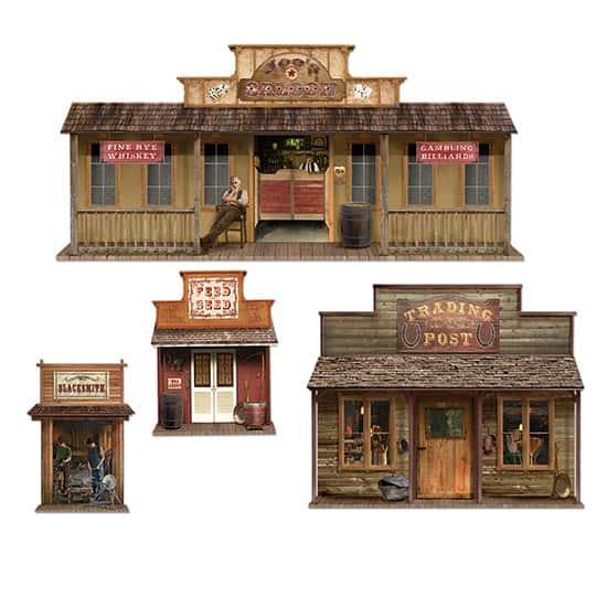 Wild West Town Backdrop Scene Setter Add-Ons - Pack of 4