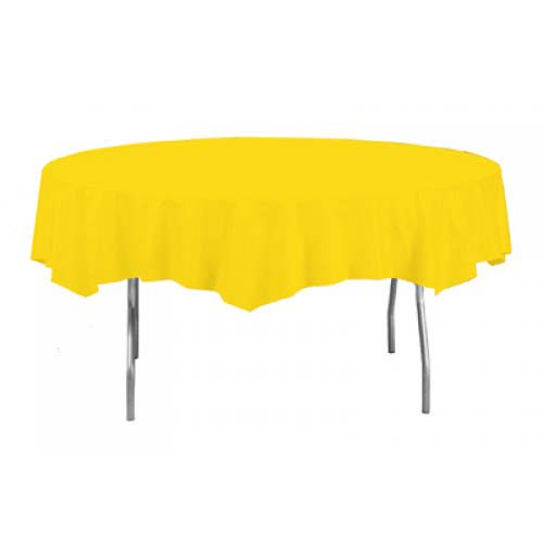 Yellow Round Plastic Tablecover - 213cm Diameter