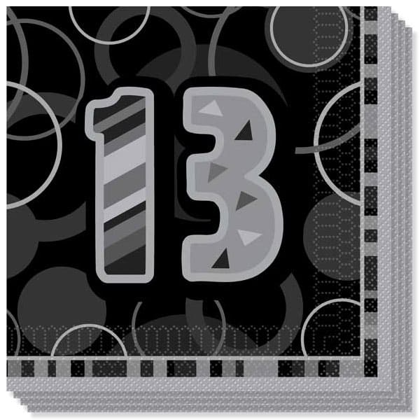 Black Glitz 13th Birthday 3 Ply Luncheon Napkins - 13 Inches / 33cm - Pack of 16