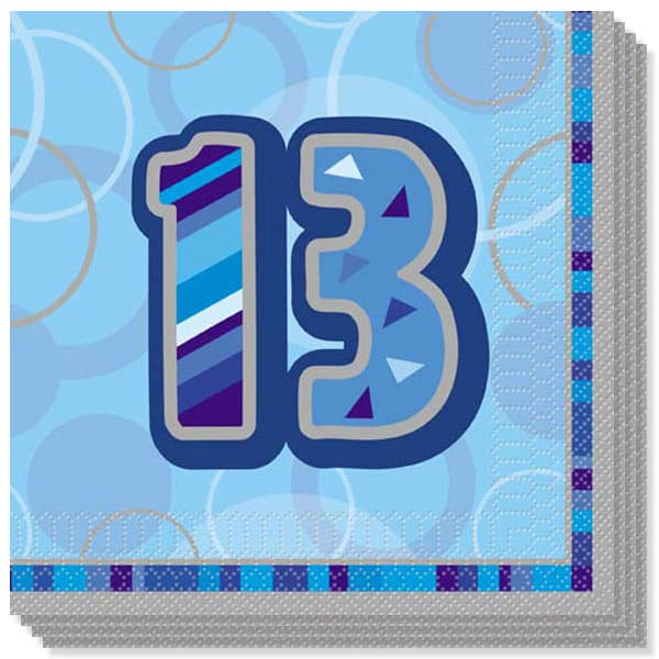 Blue Glitz 13th Birthday 3 Ply Luncheon Napkins - 13 Inches / 33cm - Pack of 16