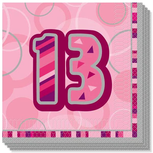 Pink Glitz 13th Birthday 3 Ply Luncheon Napkins - 13 Inches / 33cm - Pack of 16