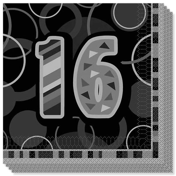 Black Glitz 16th Birthday 3 Ply Luncheon Napkins - 13 Inches / 33cm - Pack of 16